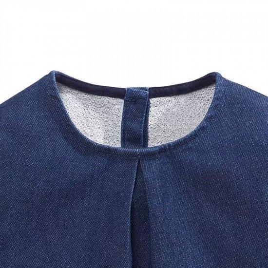 Джинсовое платье с аппликацией и вышивкой LM-1789